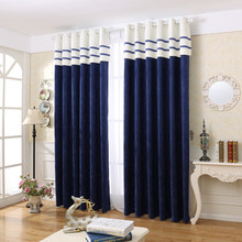 Modern Simple Style Jacquard Chenille Blackout Curtain for Living Room Decoration Drape Cortina for Kitchen Custom