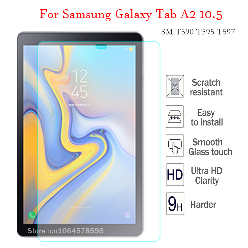 Tempered Glass For Samsung Galaxy Tab A2 10.5 SM T590 T595 T597 9H Tablet Screen Protector High HD Transparent Hard Cover Film new 9h glass tempered for huawei mediapad t5 10 tempered glass screen film for huawei mediapad t5 10 inch tablet screen film