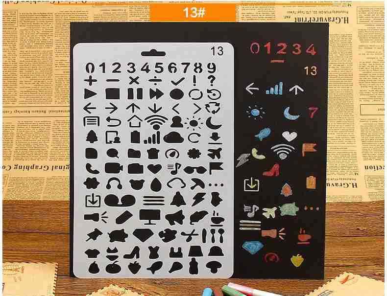 Number sign Layering Stencils for Diy scrapbook/photo album Decorative Embossing coloring,painting stencil,home decor