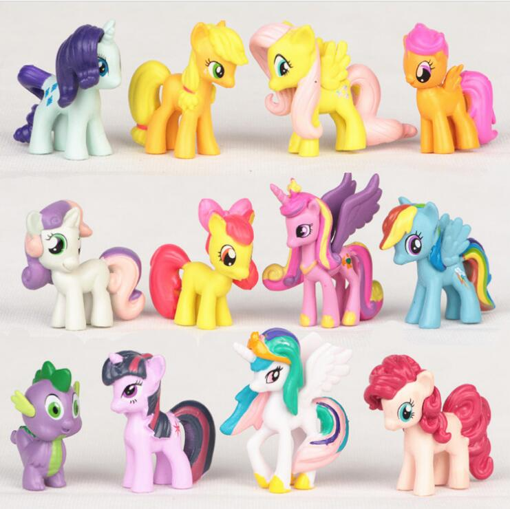 12Pcs/Lot Rainbow Dash+Cute Little HorseToys Figures Children Gift Cartoon Children Action Figure Vinyl Doll Toys 48pcs lot action figures toy stikeez sucker kids silicon toys minifigures capsule children gift