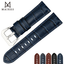 MAIKES Genuine Leather Watch Strap 22mm 24mm 26mm Fashion Blue Band Stainless Steel Buckle Accessories Watchband