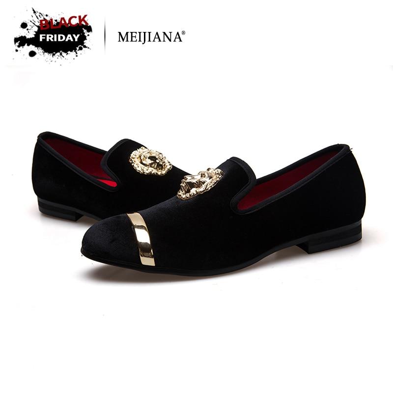 Nuevo de moda de oro y superior de los hombres del dedo del pie de terciopelo vestido de zapatos italiano Zapatos de vestir para Hombre Zapatos mocasines hechos a mano