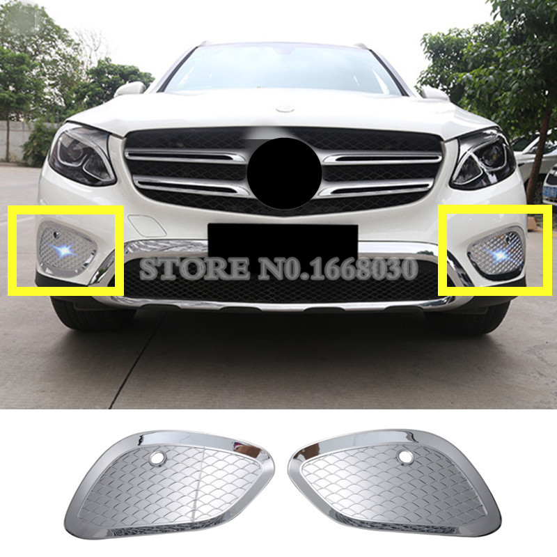 ABS Front Bumper Grille Fog Light Lamp Cover Trim For Mercedes Benz GLC X253 2015 2018
