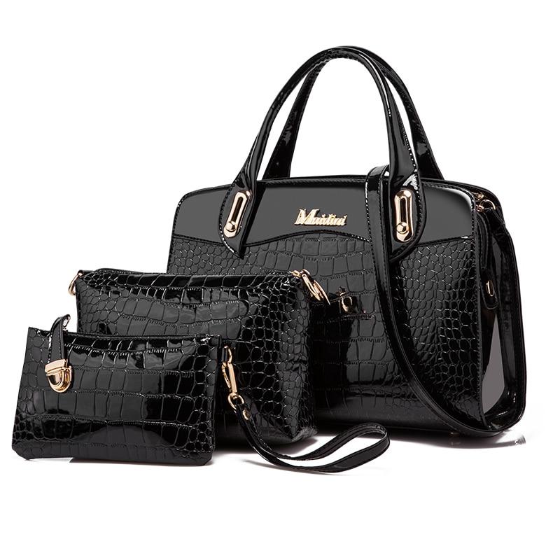 Women Bags Handbags Women Famous Brands Crocodile Solid Leather Bag Female Bags bolsa feminina 3 Pieces kzni women leather handbags genuine leather women messenger bags female purses and handbags sac a main bolsa feminina 1441