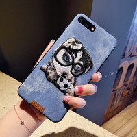 Cute Embroidery 3D Cartoon Teddy Pug HUSKY Dog Cat Pet Soft Cover For IPhone X 8