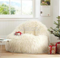 Furlicious Leanback Lounger , high back support bean bag living room sofa chair lazy sofa beds in white