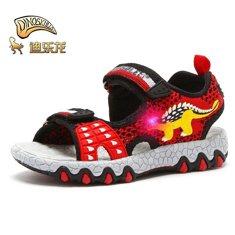 DINOSKULLS Dinosaur 2020 Kids Sandals With LED Light Open Toe Boys Fabric 3-6 Little Child Sandals Breathable Summer Beach Shoes
