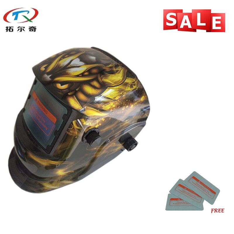 Equipo de Semi soldadura cráneo Solar batería de litio oscurecimiento Tig Mig soldador Cap luz Solar casco de soldadura TRQ-HD34-2233FF