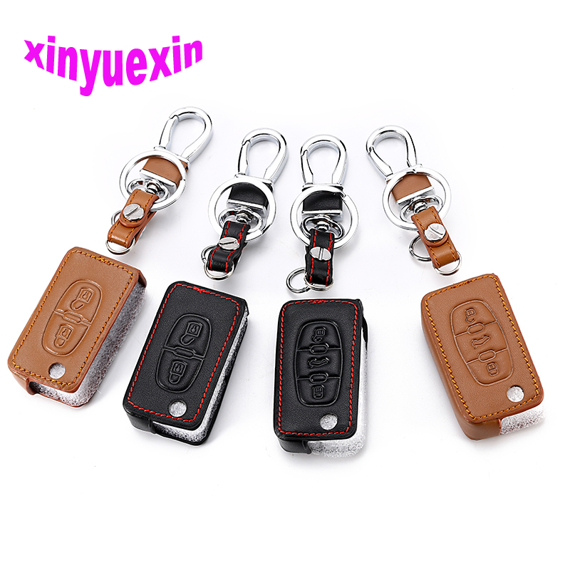 Xinyuexin Leather Car <font><b>Key</b></font> Cover FOB <font><b>Case</b></font> For <font><b>Peugeot</b></font> 208 207 <font><b>3008</b></font> 308 408 407 307 206 Flip Remote Car <font><b>Key</b></font> Jacket With Keychain image