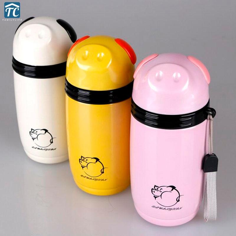 280ml Stainless Steel Water Bottle Thermos Creative Pig Mug Vacuum Flasks Insulated Cup Drinkware Leak Proof Cartoon Coffee