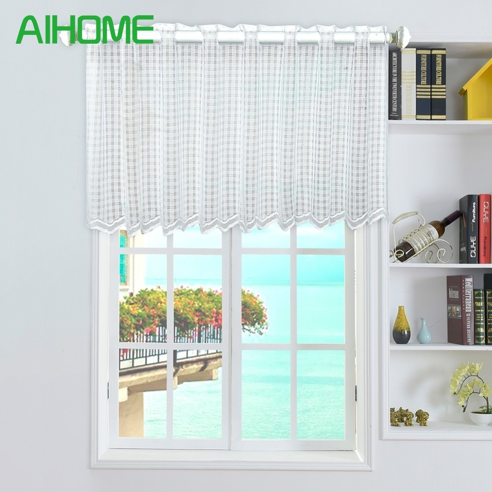 Half curtain Solid Window Valance Coffee Tulle Curtains Panel Drape ...