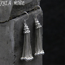 S925 Pure Silver Long Tassels Earrings for Women Bohemian Lovely Bead Charms Earring Fashion Jewelry Bijoux Femme TYC219