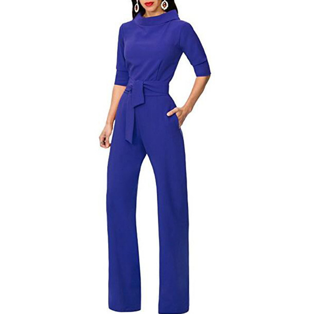 Women   Jumpsuit   elegant Rompers Turn Down Collar Tracksuit Wide Leg Pants Trousers female overalls dungarees Ladies Pantsuit