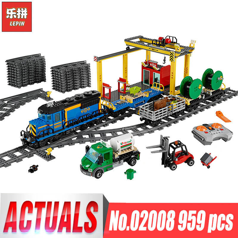 Lepin 02008 City Series the Cargo Train Set Building Blocks Bricks Compatible legoing 60052 RC Train Children Toys Boy's Gifts lepin 02015 456pcs city series train station car styling building blocks bricks toys for children gifts compatible 60050