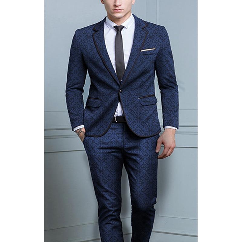 2 Stück Anzüge Männer Britischen Neuesten Mantel-hose Designs Königsblau Mens Anzug Herbst Winter Dicken Slim Fit Plaid Hochzeit Kleid Smoking