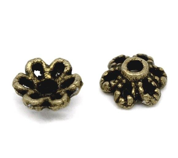 DoreenBeads Zinc Metal Alloy Beads Caps Flower Antique Bronze(Fits 8mm-12mm Beads)Flower Hollow Pattern 6mm X 2.8mm ,55 PCs