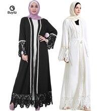 Buytiz UAE Abaya Dubai Kaftan Mesh Cardigan Black Long Jupe Femme Muslim Kimono Dress Turkish Mubarak Islamic Clothing