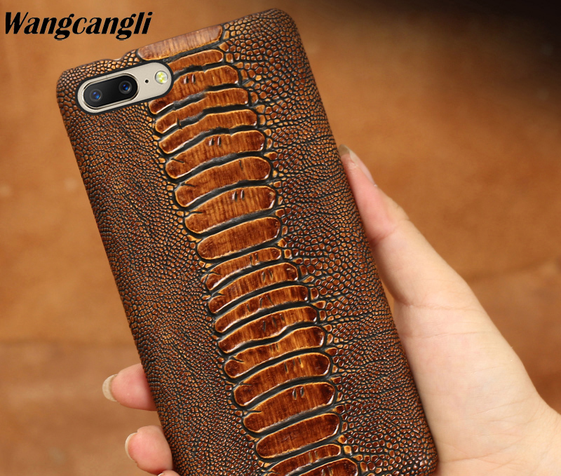 Ostrich foot Texture Genuine leather phone case for Oneplus 6 cowhide half bag phone protection case for Oneplus 3t 5 5t 6Ostrich foot Texture Genuine leather phone case for Oneplus 6 cowhide half bag phone protection case for Oneplus 3t 5 5t 6