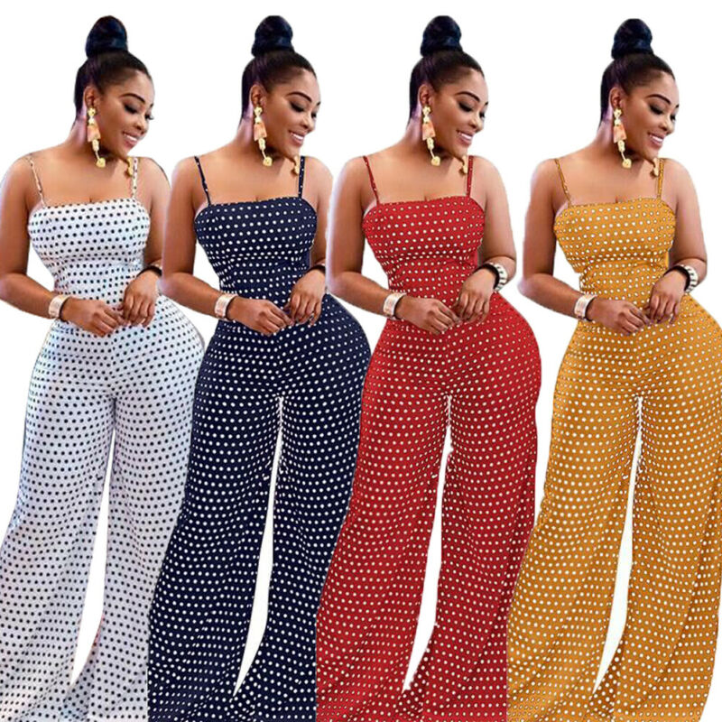 Women's Beach Sleeveless Long Jumpsuit Strappy Bandeau Polka Dot Bohemian Holiday Casual Slim Bowknot Backless Wide Leg Jumpsuit