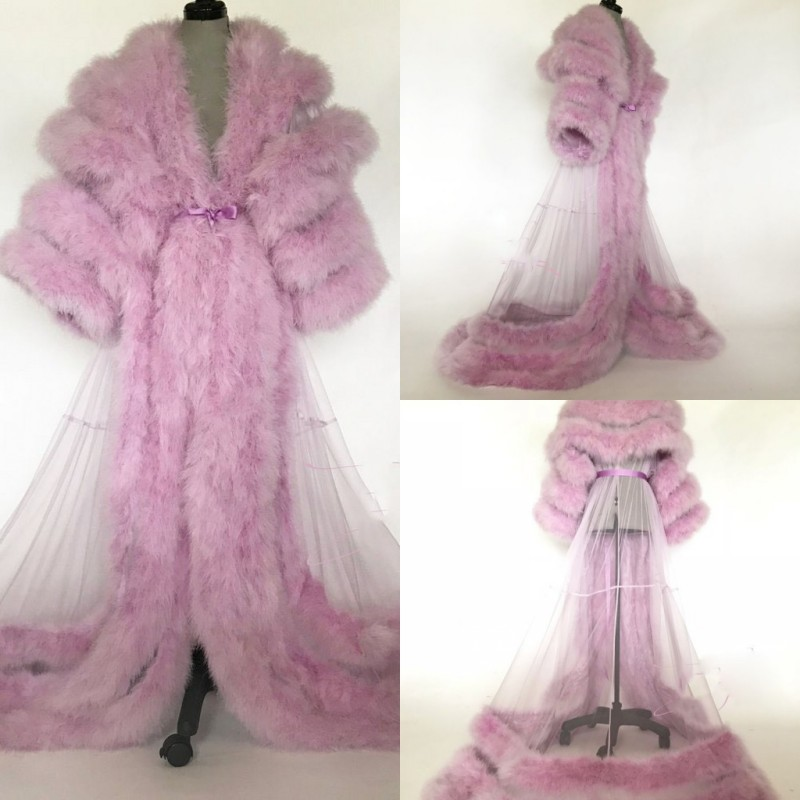 Luxury Tiered Feathers Night Robe Long Sleeves Sexy Party Sleepwear Custom Made Floor Length Nightgowns Robes