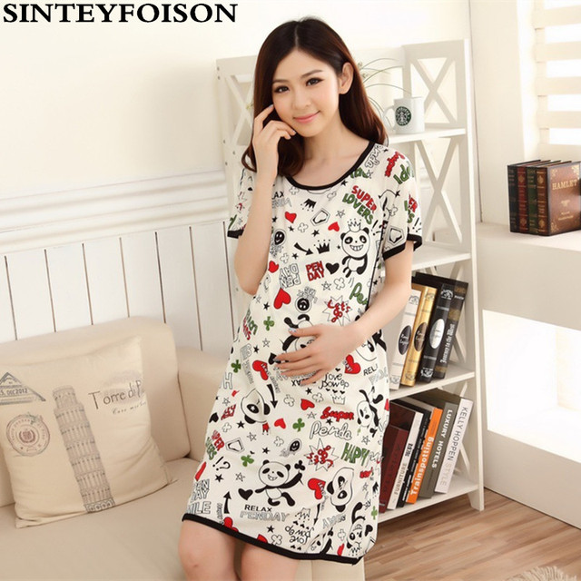 Summer Maternity Dress Cartoon Panda Pregnant Women Pajamas Feeding with  Short Sleeves Thin Cotton Nursing Nightgown 797b0cc1d