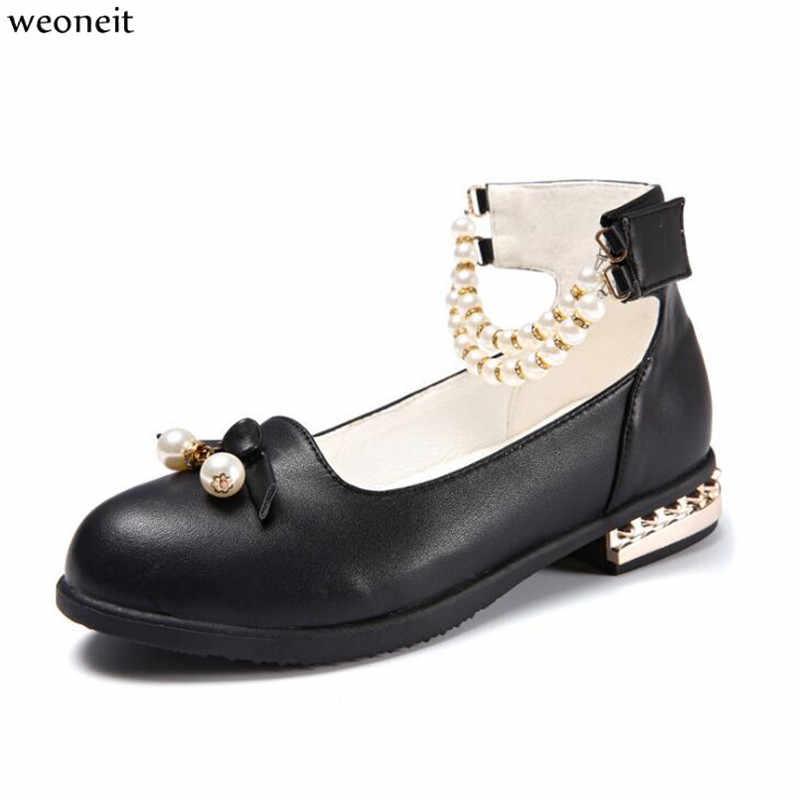 dd057fdf1 Weoneit детская кожаная женская обувь выступление осень 2019 Infantil  модное Брендовое платье черное принцессы Детская Свадебная