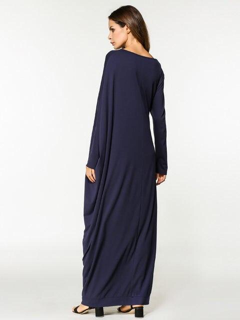 2017 Islamic Muslim cotton bats sleeves loose style plus size abayas dress  in Dubai Turkish ladies clothing high quality c7c1fe47e28