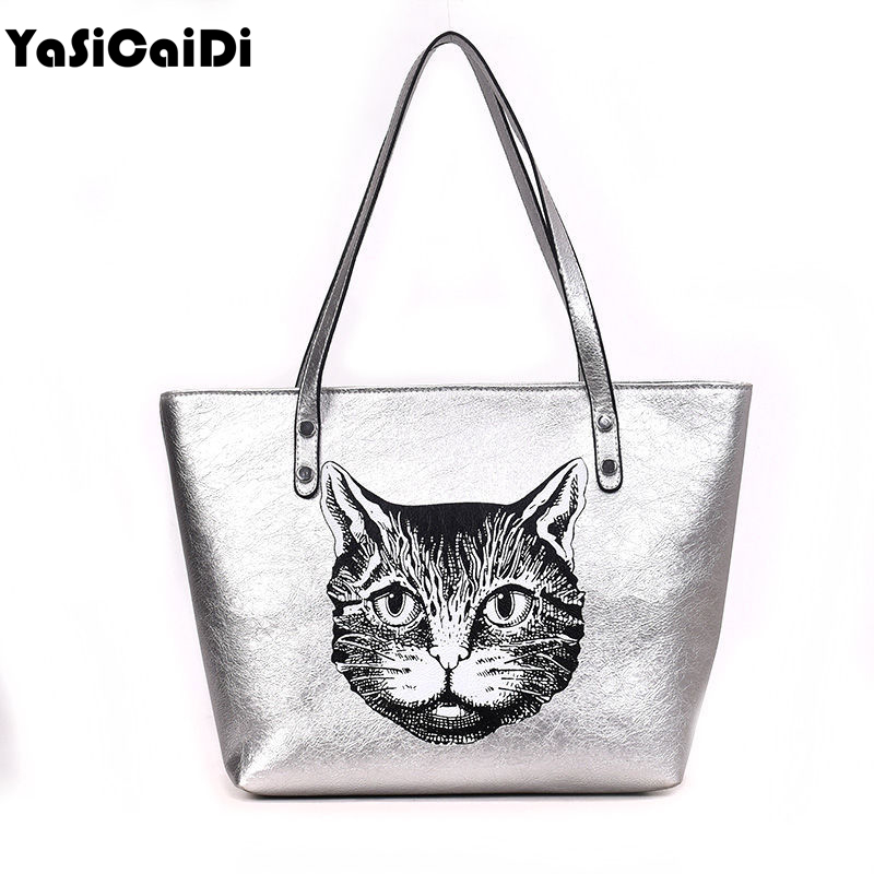 все цены на Drop Shipping Fashion Pu Leather Handbags Women Shoulder Bag Casual Tote Bags Female Famous Brands Luxury Cute Cat Shoulder Bag