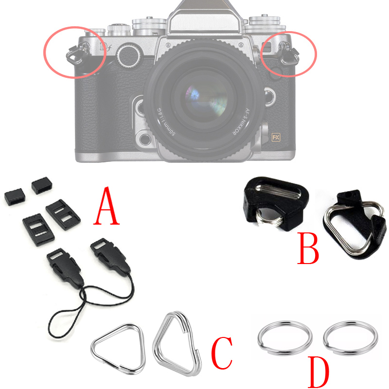 1pair Camera Rings Hook Replacement Alloy Split Ring Triangle  For Canon Nikon Camera Shoulder Strap Lanyard