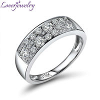 Real 18K White Gold Diamond Ring For Wedding Rings VS Dia Fine Jewelry Gift