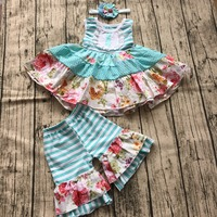 Vestiti di estate della ragazza dei capretti del bambino boutique set abito senza maniche con corrispondenza increspato shorts e la fascia della ragazza vestito floreale set