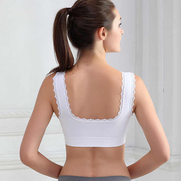 fc13dbf429e0d ... Comfort Women Padded Sports Bras Lace Trim Size Wireless Yoga Gym Bra  Clothing Crop Tops ...