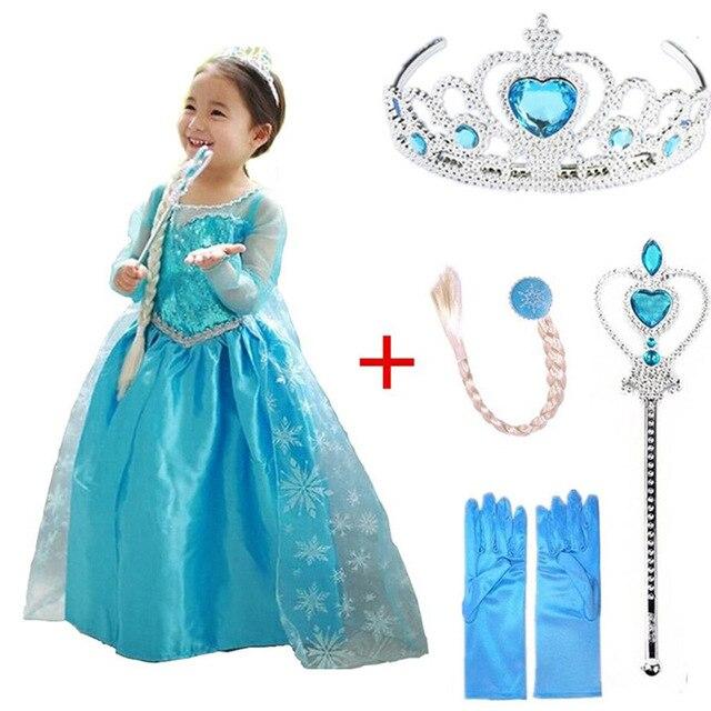Платье Эльзы для девочек; Новинка; костюмы Снежной Королевы для детей; платья для костюмированной вечеринки; платье принцессы; disfraz carnaval vestido de festa infantil congelados - Цвет: elsa set F