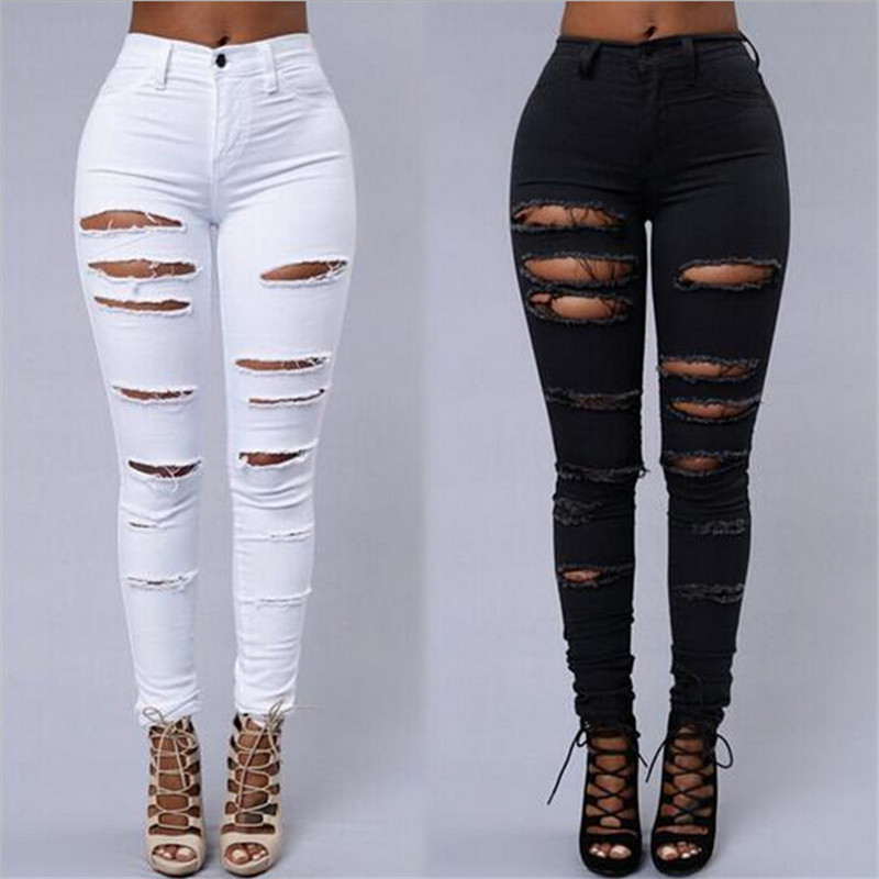Distressed Sexy Jeans Women 2016 Summer New Slim Fitness Ripped Pencil Pants Solid Black White Denim Skinny Female Jeans S-XL dkny new deep solid black career women s size 10 straight pencil skirt $215