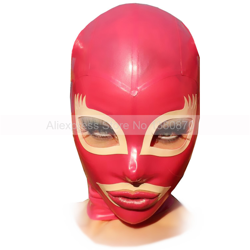 Rubber Latex Mask Hood Sexy Transaprent Red and White Trim Unisex Costumes S LM103