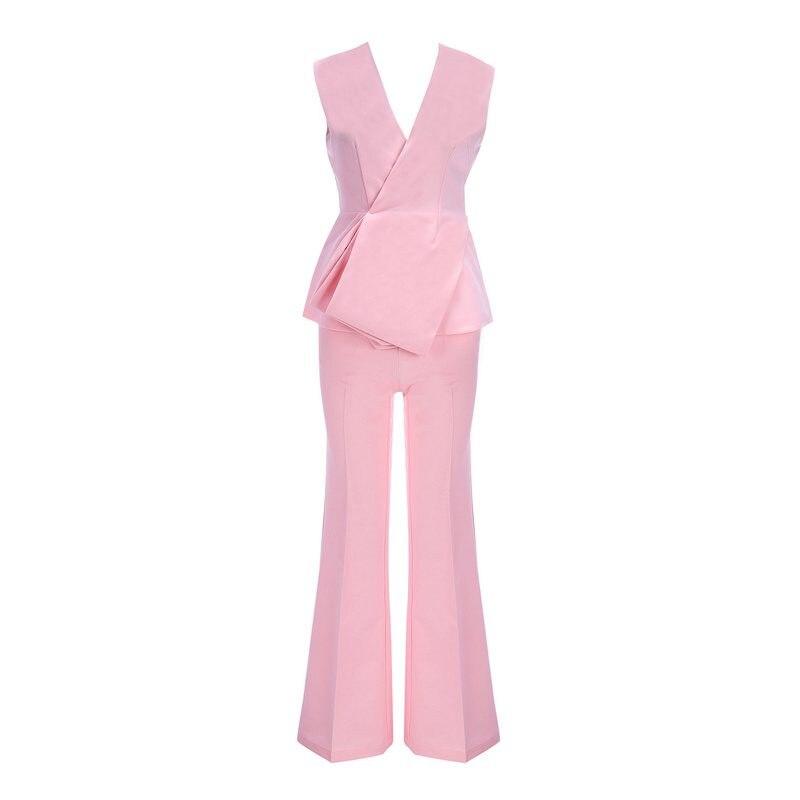 Pink Sera Modo Lady Office Tuta Di 2018 Carro V Famoso Donne Sexy Scollo Personaggio Abiti Della Partito Armato Profondo Un A Bodycon Clubwear RqwBx7qdS