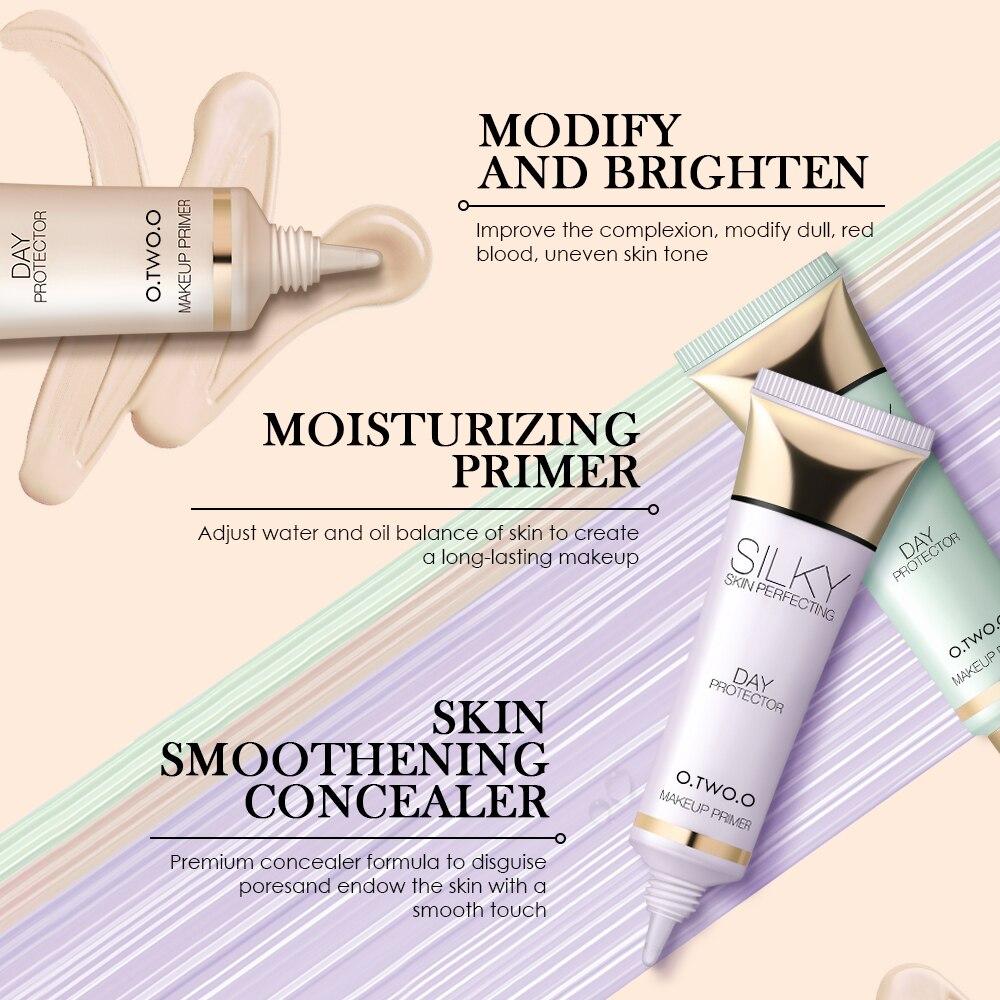 O TWO O 3 Colors Primer Base Soft Cream Brighten Skin Natural Oil Control Face Base Makeup Primer Face Concealer in Primer from Beauty Health