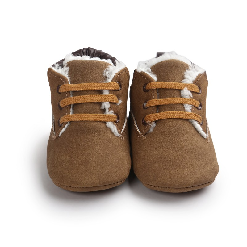 Infant Toddler Winter Warm Newborn Warm Soft Bottom Solid Color Cozy Anti-slip Classic Tie Up Boots Shoes M1