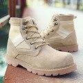 2016 Nuevos Hombres de Botas de Gamuza de Cuero Genuino Color De la Arena del desierto Botas Militares Zapatos para Hombre Al Aire Libre de las fuerzas especiales botines X090905