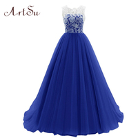 Artsu 2016 Lace Ball Gown Princess Dress Sleeveless Three Layer Auze Party Dresses 3 Colors Women