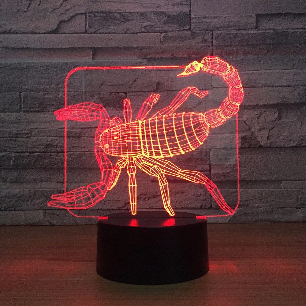 цена на New Scorpion 3D Night LED lamp 7 Colors Home Decor Atmosphere LED Night light USB LED Unique Special Decor Light Hologram Lamp