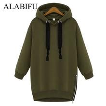 ALABIFU Long Autumn Winter Dress 2018 Women BF Hoodies Sweatshirts Dress Casual Zipper Plus Size harajuku Jacket Coat Ladies BTS