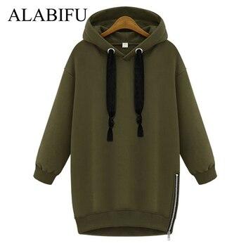 ALABIFU Long Sweatshirts Women 2019 BF Hoodies Sweatshirts Casual Zipper Plus Size Vintage harajuku Jacket Coat Ladies BTS 5XL women Sweatshirts & Women Hoodies