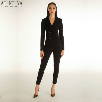 Black womens tuxedo 2 piece set women business suit female office uniform ladies trouser pant suits double breasted CUSTOM
