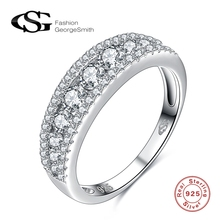 ФОТО GS 925 Sterling Silver rings for women  Simulated Diamond  Friendship Finger Rings Sterling-Silver-Jewelry Bague
