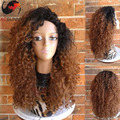 150% Density Kinky Curly Human Hair Lace Wigs Ombre #1B/#30 Glueless Full Lace Wigs Two Tone human Lace Front Wigs