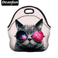 Deanfun Lunch Bags Fashion Women Neoprene Cat Pattern Zipper For Food Package Waterproof 50823