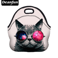 Deanfun Lunch Bags Fashion Women Neoprene Cat Pattern Zipper For Food Package Waterproof 50823