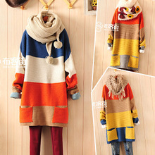 2016 new woman autumn winter wide stripes lazy pullover knitted thick section loose bat sleeve sweater round neck Japanese style