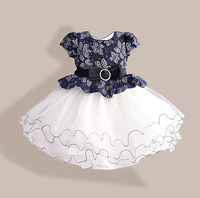 New Summer Diamond Silk Bow Girl Party Dress Wedding Birthday Girls Dresses Tutu Style Princess Clothes